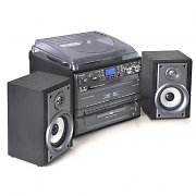Auna Stereo Hifi Twin Cassette Tape Deck, CD Player Turntable Vinyl to MP3 USB Converter