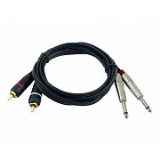 1 Meter 2 x 6.3mm Jack to 2 x RCA Cable DJ PA