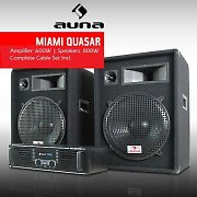 DJ PA System - &quot;Miami Quasar&quot; Amplifier 2 x Speakers Set
