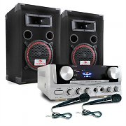 "Home Party Karaoke ""EASY"" DJ PA Set, Amplifier Speakers 2 x Mics"