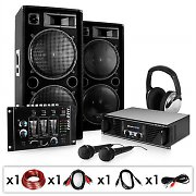 PA Set &quot;Block Party&quot; Speakers Microphones Amplifier Mixer &amp; Cables