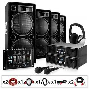 DJ PA System - &quot;Bass First&quot; 2 x Amplifier 4 x Speakers Mixer 4000W