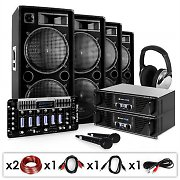 "DJ PA System - ""Bass First Pro"" 2 x Amplifiers 4 x Speakers Mixer"
