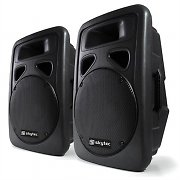 Pair Skytec Active DJ PA Speakers ABS + Stand Mounts 1200 Watts Max