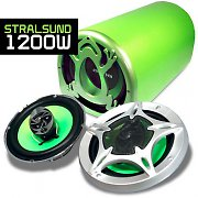 'Stralsund' Green Frog Car Audio Set 2.1 System 1200W Woofer & Speakers