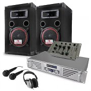 "Complete ""Starter v2"" DJ PA System - Amplifier Speakers Mic Mixer"