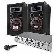 "DJ PA Complete Set ""Basic"" - Speakers Amplfier Microphone"