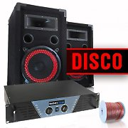 "DJ and PA-complete home ""Disco"" set amplifier, speakers & cable"
