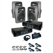 DJ PA System Skytec 'Lido' Amplifier Speakers Microphone 4800W Set