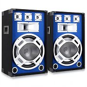 Pair Skytec Blue LED 15&quot; Passive DJ PA Speakers - 1600W