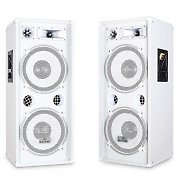 Pair of Malone PW-2222 3 Way DJ PA Speaker - White