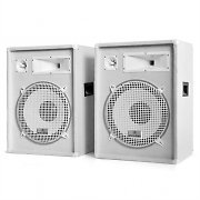 "Pair Auna PW-1522 DJ PA 1600W Speakers 3-Way 15"" Bass - White"