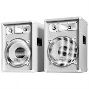 "Pair Auna PW-1222 DJ PA 1200W Speakers 3-Way 12"" Bass - White"