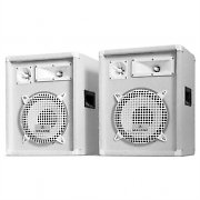 "Pair Auna PW-1022 DJ PA 800W Speakers 3-Way 10"" Bass - White"