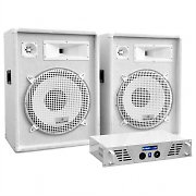 DJ PA System White Star Series 'Arctic Frost' 1600W Speaker & Amp Set