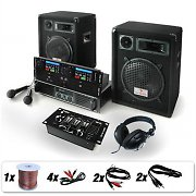Complete DJ Package: 'Bass Boomer' USB/Dual CD Player/Mixer System 800W