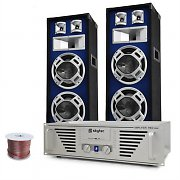 DJ PA System 'Bass Titan' Amplifier, Speakers, 1600W Set