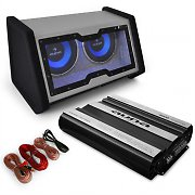 'Basstronaut' Car Audio Set with Dual 12&quot; Subwoofer, Amp &amp; Cable