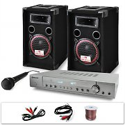 "PA System ""DJ-11"" Amplifier, Speakers, Microphone Bundle 1000W"