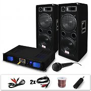 """DJ-20"" PA System Amplifier Speakers Microphone Cables Bundle 2000W"