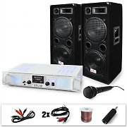 DJ-21 PA System Amplifier Speakers Cables Bundle 2000W