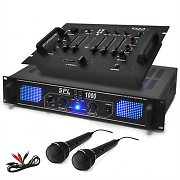 &quot;DJ-90&quot; PA Amplifier DJ Mixer Microphone Bundle 1000W