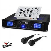 DJ PA &quot;DJ 96&quot; HiFi Amplifier Mixer 2 x Microphone 500W Set