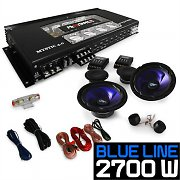 Car HiFi 'Blue Line' Speakers Subwoofer Amplifier 2700W Set