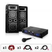 DJ PA System 'DJ-25' Set 1600W Speakers Amplifier Microphone