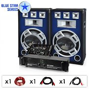 PA System Blue Star Series 'Bassmix' 1600W Speakers, Mixer, Amp Set