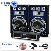 PA System Blue Star Series Bassmix 1600W Speakers, Mixer, Amp Set