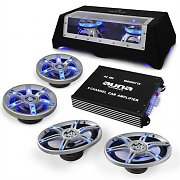 "Car HiFi Speaker Amplifier Set ""Beat pilot FX-412"" Blue Led Lighting"