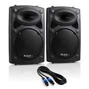 "Ibiza SLK Pair PA Speakers 2x 38cm (15"") Master Slave 1500W USB SD MP3"