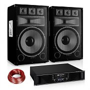 "DJ ""Warm Up Party"" Disco PA Set 1200W DJ Amplifier 15"" Speaker Pair"