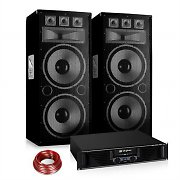 "DJ ""Heat It Up"" Disco PA Party Set 1200W Amplifier 2x15"" Speaker Pair"
