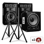 "2.1 PA Set Sapphire Series ""After Hour"" DJ 12"" Speakers, 15"" Subwoofer & Tripods"