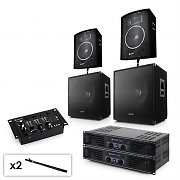 "2.2 Set PA system with 2 x Amplifiers,  2 x 15"" Subwoofers, 2 x 10"" Speakers, Mixer & Cables"