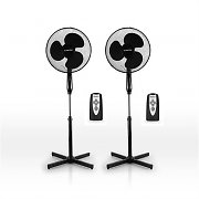 "Set of 2 Stand Fans Remote Control 16"" Wind Function - Black"