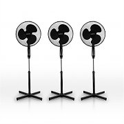 3x Klarstein Oscillating Blizzard Pedestal Fans 50W Power 3 Speeds Black