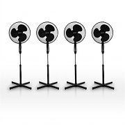 "Set of 4x Klarstein Black Blizzard 16"" Stand Fans Black 50W"