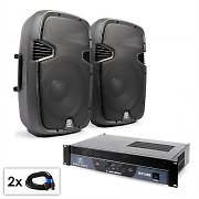 "PA Set ""SPJ Boom 12"" Pair of 30cm (12"") Speakers & Amplifier 1200W"