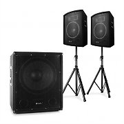 "Skytec 2.1 Active PA DJ Set with Bi-Amp Suboofer, Pair of 10"" Speakers & Stands"