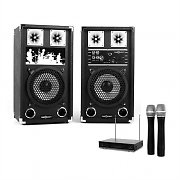 "PA Karaoke Set 2x PA 8"" Speakers 2x Wireless Microphones"
