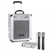 Auna / Malone Portable PA System 'Blockstar' & auna 2-channel VHF Wireless Mic Set Silver