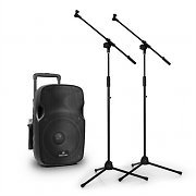 "Malone PW-2912 Portable 12"" Active PA Speaker + 2x VHF Mic & Stands 350W"