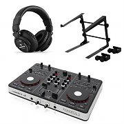resident dj Kontrol 3 USB MIDI DJ Controller Black with Headphones and Laptop Stand