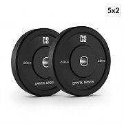 Capital Sports Elongate Set Bumper Plate Weight Plate Rubber 5 x 20 kg