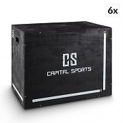 "Capital Sports Shineater BK Set Plyo Box 3 Heights 20"" 24"" 30"" Black Wood"