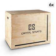 "Capital Sports Shineater BL 6 Piece Set Plyo Box 3 Heights 20"" 24"" 30"" Wood"