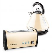 Klarstein Breakfast Set Long-Slot Toaster Kettle Retro Stainless Steel Cream